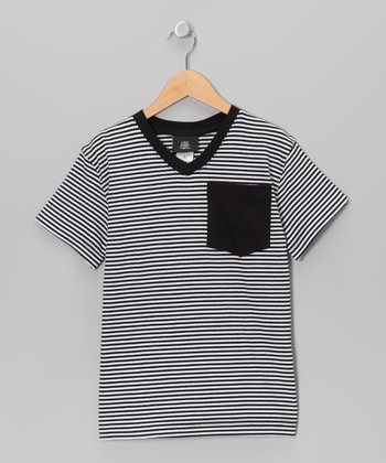 Black Stripe V-Neck Tee - Boys
