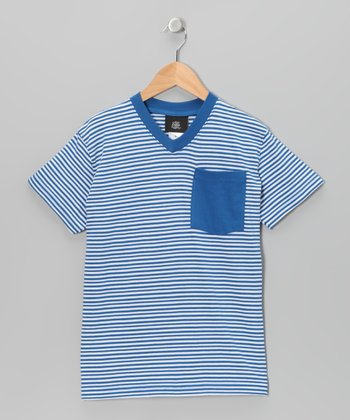 Royal Stripe V-Neck Tee - Boys