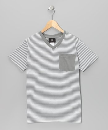 Light Gray Stripe V-Neck Tee - Boys