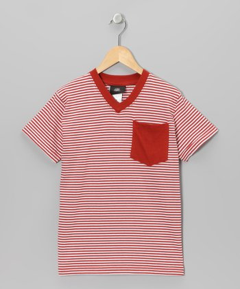 Red Stripe V-Neck Tee - Boys