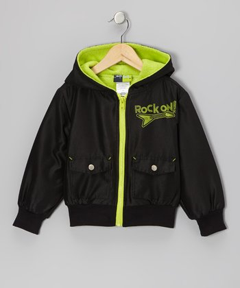 Black & Green 'Rock On' Hooded Jacket - Infant, Toddler & Boys