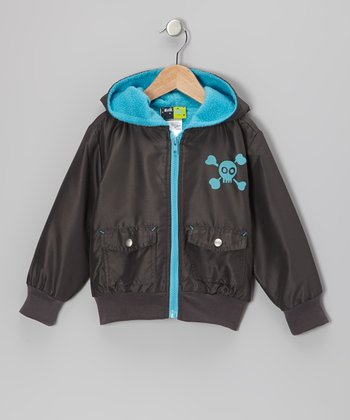Gray & Blue Skull Hooded Jacket - Infant, Toddler & Boys