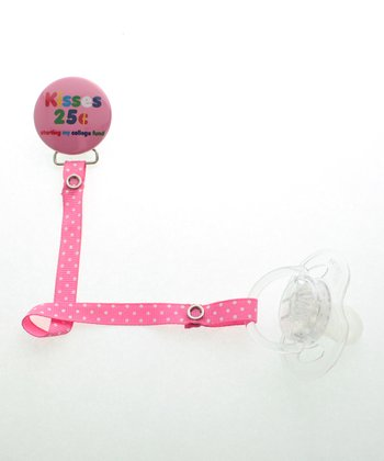 Pink & White Polka Dot 'Kisses 25¢' Pacifier Clip