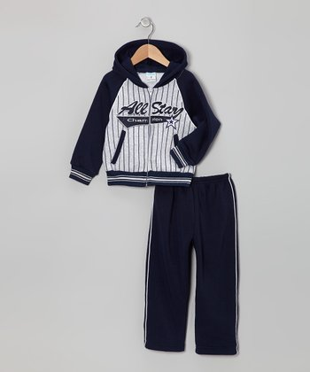 Gray & Blue 'All-Star' Zip-Up Hoodie & Pants - Toddler & Boys