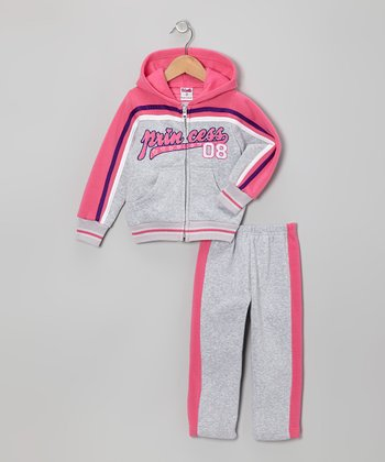 Gray & Pink 'Princess' Zip-Up Hoodie & Pants - Toddler & Girls