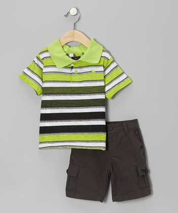 Lime & Charcoal Stripe Polo & Shorts - Infant
