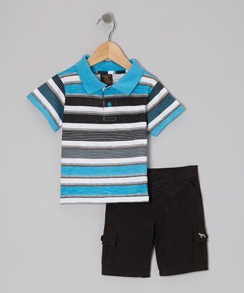 Blue & Black Stripe Polo & Shorts - Infant