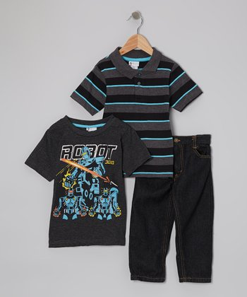 Black & Charcoal 'Robot' Tee Set - Toddler