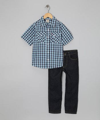 Blue Plaid Button-Up & Pants - Boys