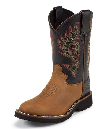 Brown Coffee Westerner Bullhide Cowboy Boot - Kids