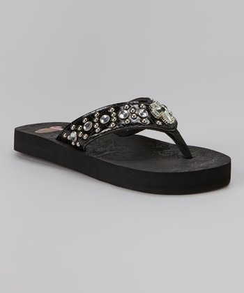 Black Chloe Cross Flip-Flop