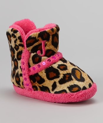 Beige & Pink Leopard Sequin Boot Slipper