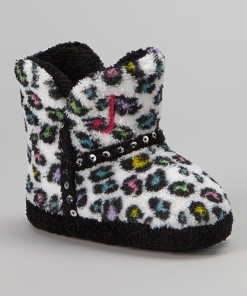 Black & White Snow Leopard Sequin Boot Slipper - Kids