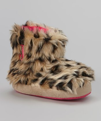 Beige & Black Leopard Boot Slipper - Kids