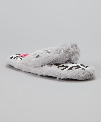 Gray Crystal Flip-Flop Slipper - Kids