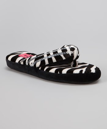 Black & White Zebra Sequin Flip-Flop Slipper - Kids