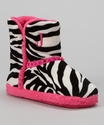 Black & White Zebra Sequin Boot Slipper - Kids
