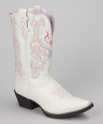 White & Pink Deercrow Cowboy Boot - Kids