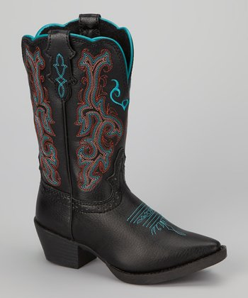 Black & Teal Deercrow Cowboy Boot - Kids
