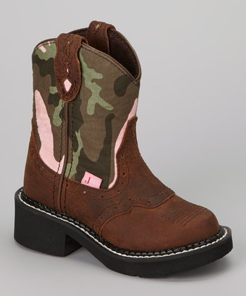 Brown & Pink Camo Aged Bark Cowboy Boot - Kids