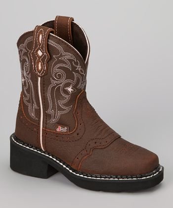 Brown Bay Apache Cowboy Boot - Boys