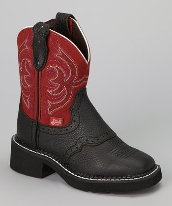 Black & Red Deercrow Saddle Vamp Cowboy Boot - Boys