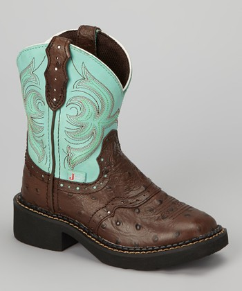 Brown & Teal Ostrich Saddle Cowboy Boot - Girls
