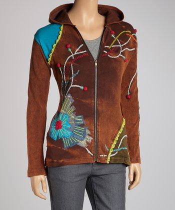 Brown Pom-Pom Sprout Hoodie - Women