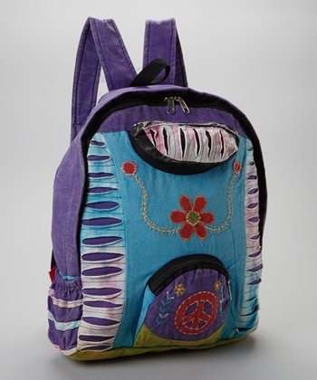 Purple & Blue Peace Sign Shredded Backpack