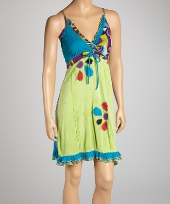 Blue & Green Bold Flower Empire-Waist Dress
