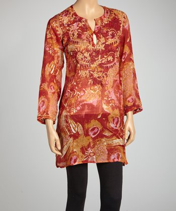 Red Feather Print Tunic