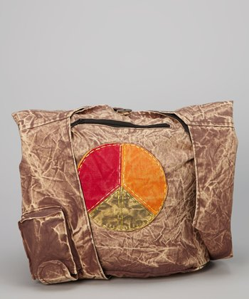 Brown Peace Stonewash Tote