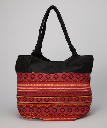 Red Tribal Weave Tote