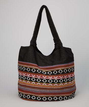 Black Tribal Weave Tote