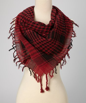Red Houndstooth Plaid Scarf