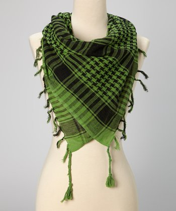 Green Houndstooth Plaid Scarf