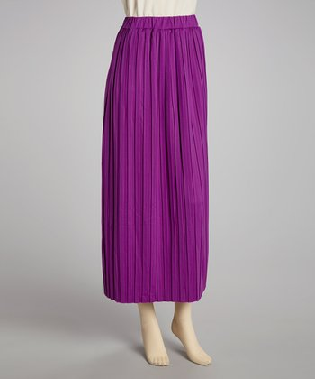 Purple Pleated Skirt - Women