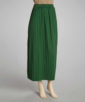 Green Pleated Skirt - Women