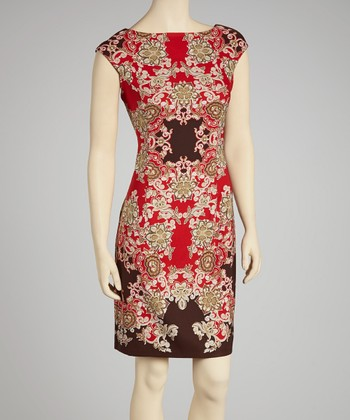 Red & Coffee Abstract Cap-Sleeve Sheath Dress - Women
