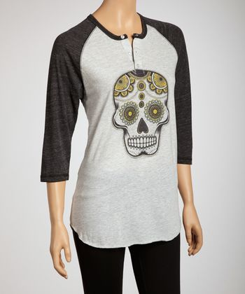 Oatmeal & Black Sugar Skull Organic Raglan Henley - Women & Plus