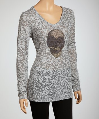 Heather Gray Flower Burnout Long-Sleeve Top - Women & Plus
