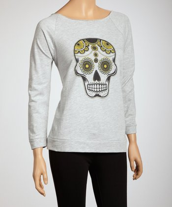 Heather Grey Sugar Skull Long-Sleeve Top - Women & Plus