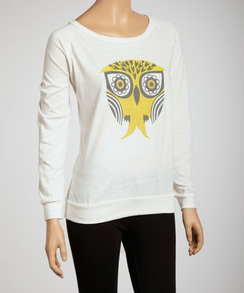 Ivory Winged Owl Long-Sleeve Top - Women & Plus
