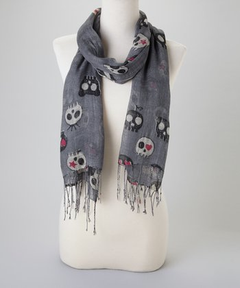 Grey Lovely Skull Scarf
