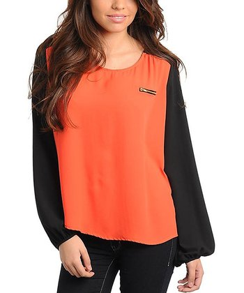 Orange & Black Color Block Long-Sleeve Top - Women