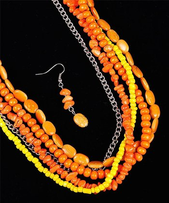 Orange Multi-Strand Necklace & Drop Earrings Set