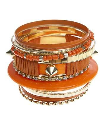 Orange & Gold Bangle Set