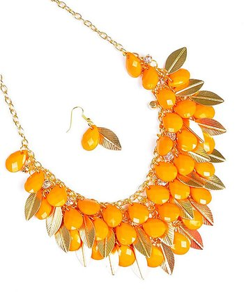 Orange Teardrop Bib Necklace & Earrings Set