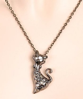 Silver Sparkle Cat Necklace