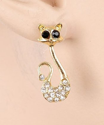 Gold Cat Drop Earrings